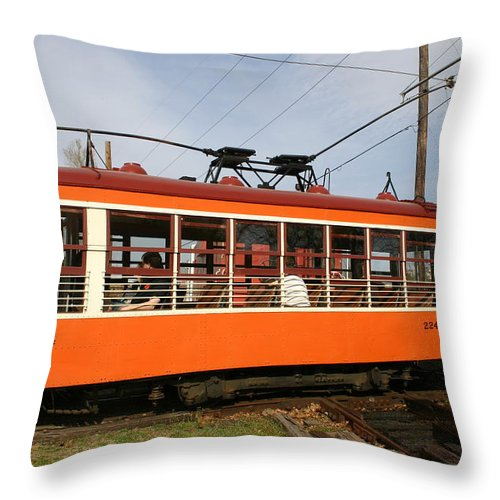 Trolley Throw Pillow featuring the photograph Rogers Trolley2 by Nina Fosdick