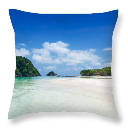 Atmosphere Throw Pillow featuring the photograph Rok Island by Atiketta Sangasaeng