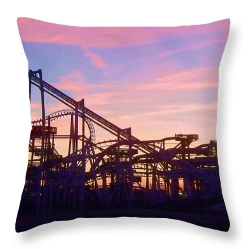Roller Coaster Throw Pillow featuring the photograph Roller Coaster At The Nj Shore by Eric Schiabor