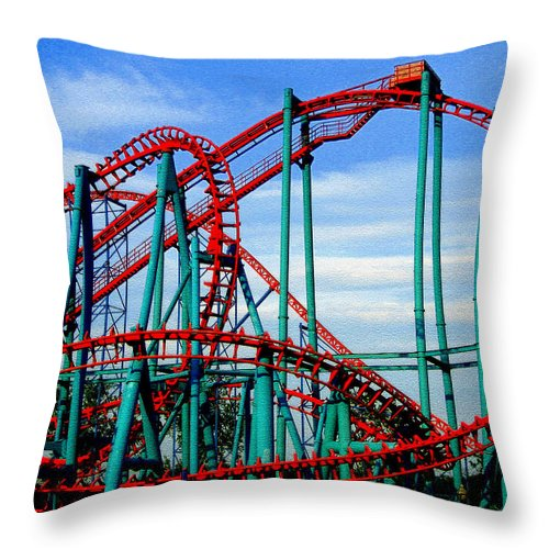 Roller Coaster Throw Pillow featuring the digital art Roller Coaster Painting by Marvin Blaine