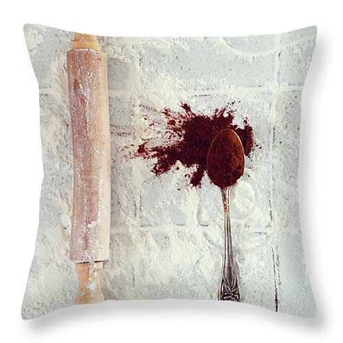 Rolling Pin Throw Pillow featuring the photograph Rolling Pin, Teaspoon, Flour And Cocoa by One Girl In The Kitchen
