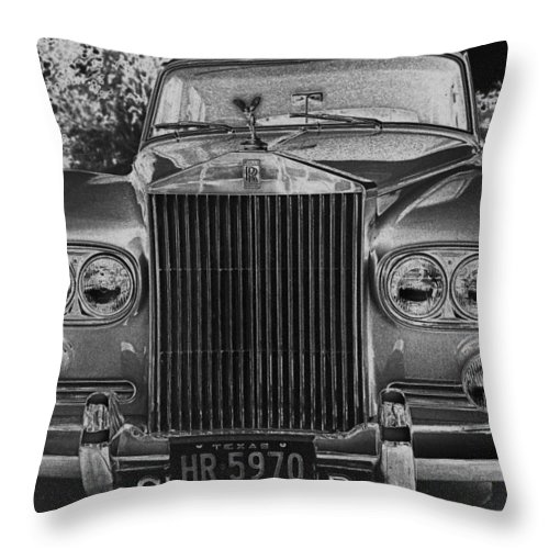 Rolls Royce Throw Pillow featuring the photograph Rolls Royce Grill by Jim Smith