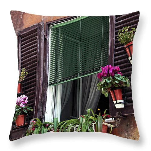 Roma Window Art Throw Pillow featuring the photograph Roma Window Art by John Rizzuto