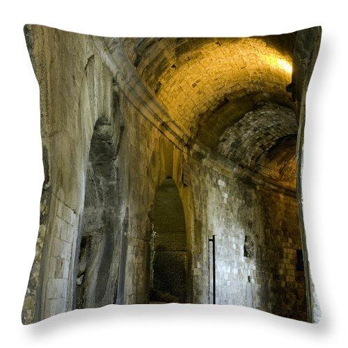 Nîmes Arena France Arenas Stone Stones Corridor Corridors Passageway Passageways Ruin Ruins Architecture Throw Pillow featuring the photograph Roman Arena by Bob Phillips