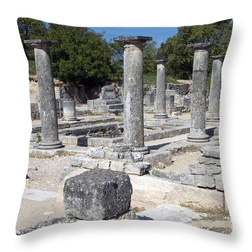Glanum Roman Ruins Saint Remy France Ruin Column Columns Landscape Landscapes Provence Throw Pillow featuring the photograph Roman Columns by Bob Phillips