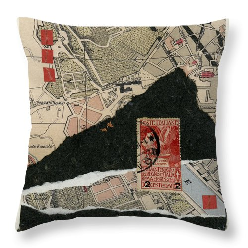 Rome Throw Pillow featuring the photograph Roman Map Collage by Carol Leigh