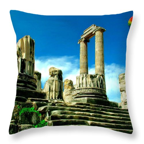 Roman Throw Pillow featuring the painting Roman Ruins From Above by Bruce Nutting