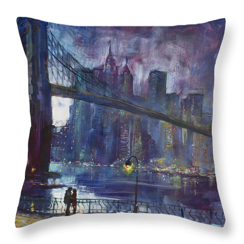 Brooklyn Bridge Throw Pillow featuring the painting Romance by East River NYC by Ylli Haruni