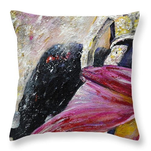 Animals Throw Pillow featuring the painting Romance by Miki De Goodaboom