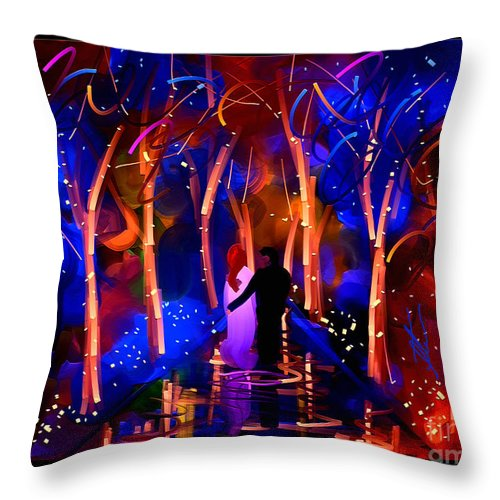 Park Throw Pillow featuring the painting Romance by Steven Lebron Langston