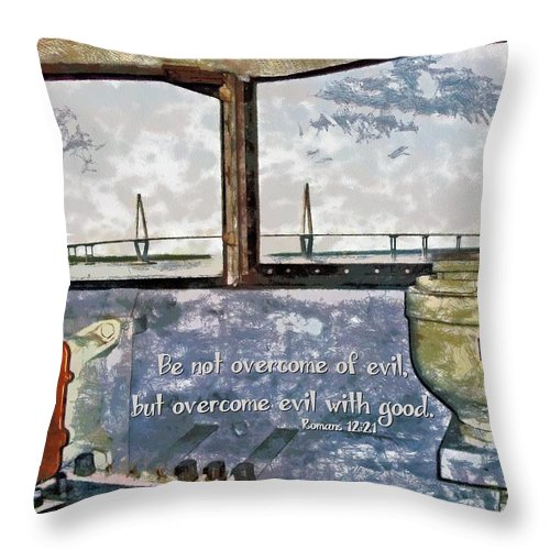 Jesus Throw Pillow featuring the digital art Romans 12 21 by Michelle Greene Wheeler