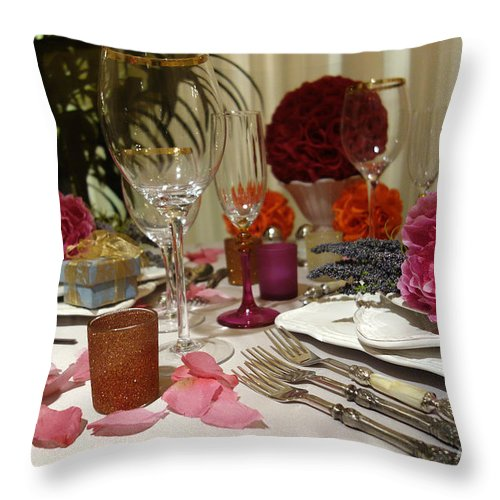 Nina Prommer Throw Pillow featuring the photograph Romantic Dinner Setting by Nina Prommer