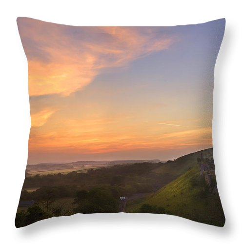 Castle Throw Pillow featuring the photograph Romantic Fantasy Magical Castle Ruins Against Stunning Vibrant S by Matthew Gibson