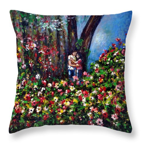 Scene Throw Pillow featuring the painting Romantic by Harsh Malik
