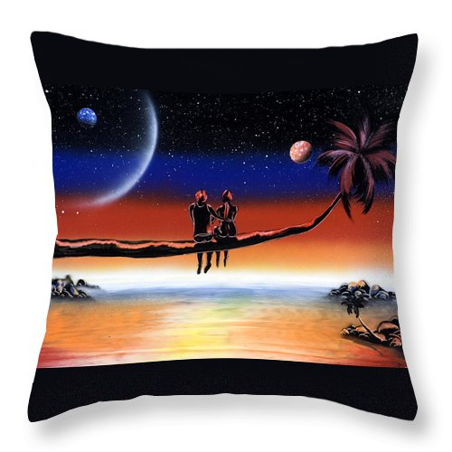 Throw Pillow featuring the painting Romantic Night by Ronny Or Haklay