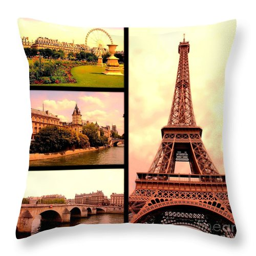 Paris Throw Pillow featuring the photograph Romantic Paris Sunset Collage by Carol Groenen