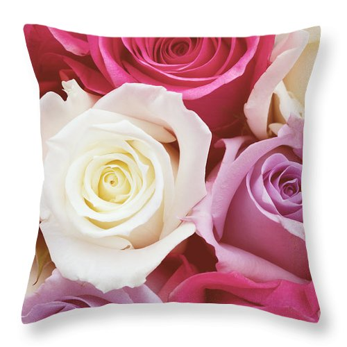 Romantic Flower Photo Throw Pillow featuring the photograph Romantic Rose Garden by Kim Fearheiley
