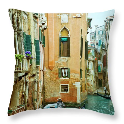 Heterosexual Couple Throw Pillow featuring the photograph Romantic Venice Views From Gondola by Caracterdesign