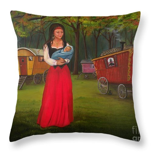 Mother And Child Throw Pillow featuring the painting Romany Mother And Child by Lora Duguay