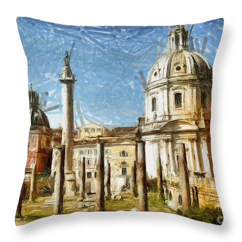 Rome Throw Pillow featuring the mixed media Rome Italy - Drawing by Daliana Pacuraru