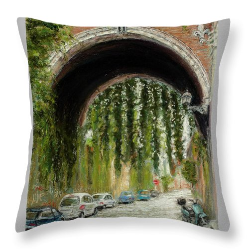 Pastel Throw Pillow featuring the painting Rome Street Scene by Mary Benke