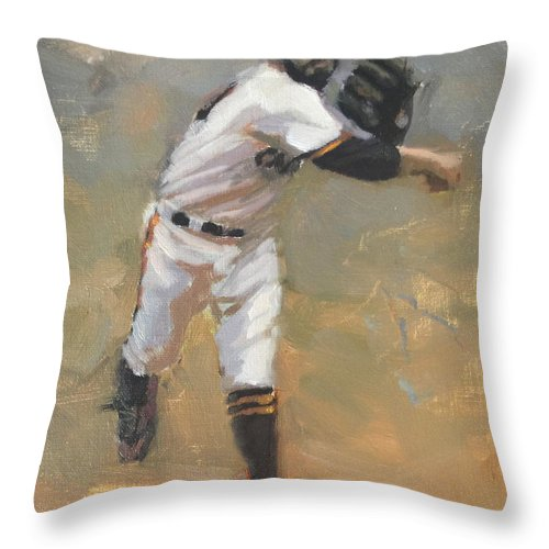 Sergio Romo Throw Pillow featuring the painting Romo Throw to First by Darren Kerr