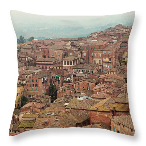 Siena Throw Pillow featuring the photograph Rooftop View Of Siena Italy by Kim Fearheiley