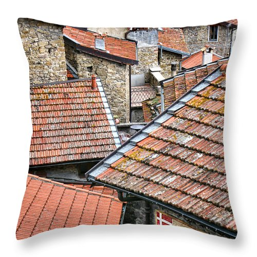 Apricale Throw Pillow featuring the photograph Rooftops Of Apricale.italy by Jennie Breeze