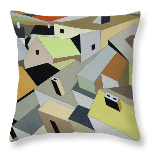 Fine Art Prints Throw Pillow featuring the painting Rooftops by Paul A Addams Archive
