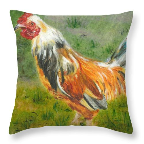 Rooster Throw Pillow featuring the painting Rooster Rules by Paula Emery