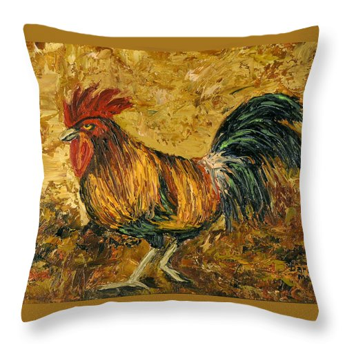 Rooster Throw Pillow featuring the painting Rooster With Attitude by Darice Machel McGuire
