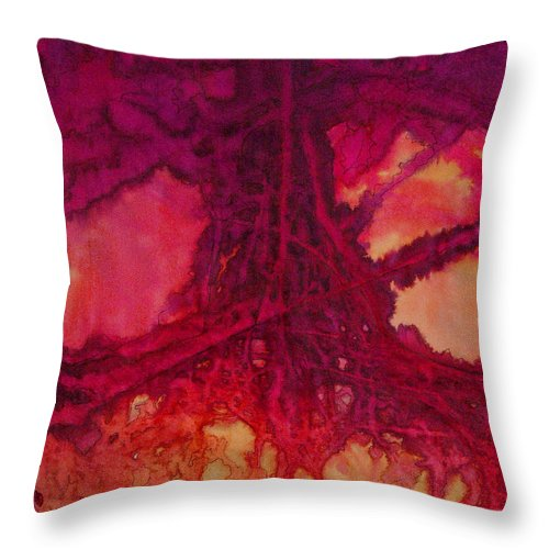 Silk Painting Throw Pillow featuring the painting Roots of Passon by Francine Dufour Jones