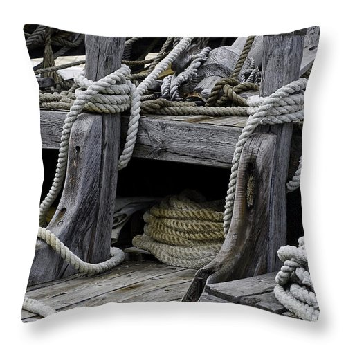 Corpus Christi Texas Rope Ropes Fishing Boat Boats Odds And Ends Throw Pillow featuring the photograph Rope Course by Bob Phillips