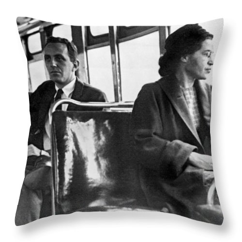 1956 Throw Pillow featuring the photograph Rosa Parks On Bus by Underwood Archives