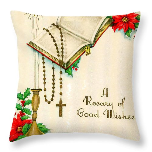 Rosary Throw Pillow featuring the photograph Rosary Good Wishes by Munir Alawi