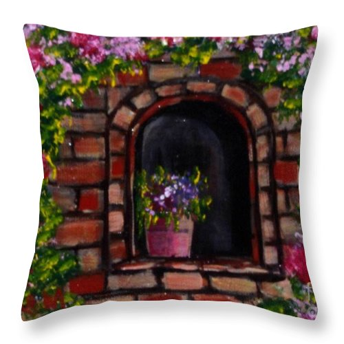Rose Throw Pillow featuring the painting Rosary by Laurie Morgan