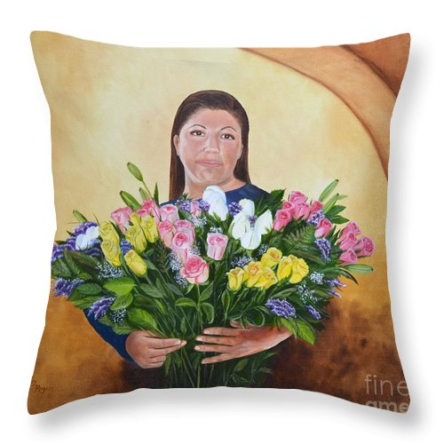 People Throw Pillow featuring the painting Rosa's Roses by Mary Rogers