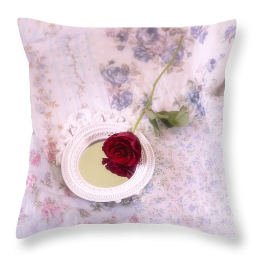 Red Throw Pillow featuring the photograph Rose And Mirror by Joana Kruse