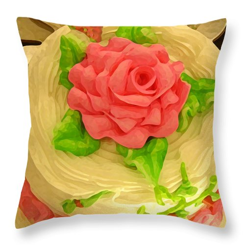 Food Throw Pillow featuring the painting Rose Cakes by Amy Vangsgard