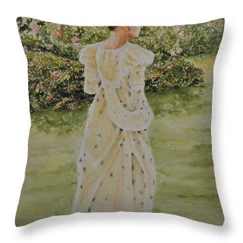 Women Throw Pillow featuring the painting Rose Garden by Danny Helms