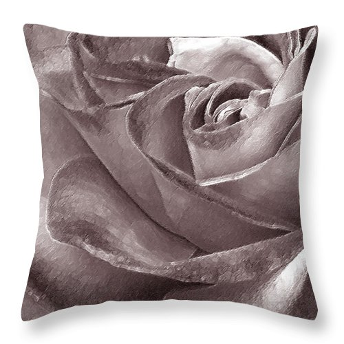 Rose Throw Pillow featuring the photograph Rose In Black And White by Ben and Raisa Gertsberg