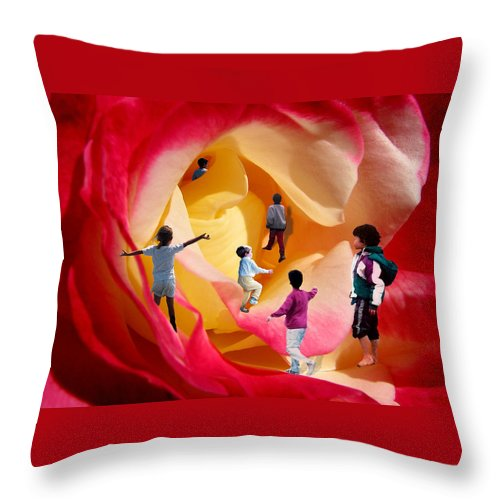 Rose Throw Pillow featuring the digital art Rose Labyrinth by Lisa Yount