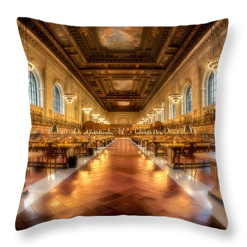 Empire State Throw Pillow featuring the photograph Rose Main Reading Room by Jerry Fornarotto
