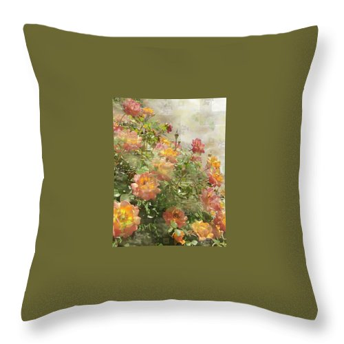 Orange Roses Throw Pillow featuring the digital art Rose Potpourri by Natalie Ortiz