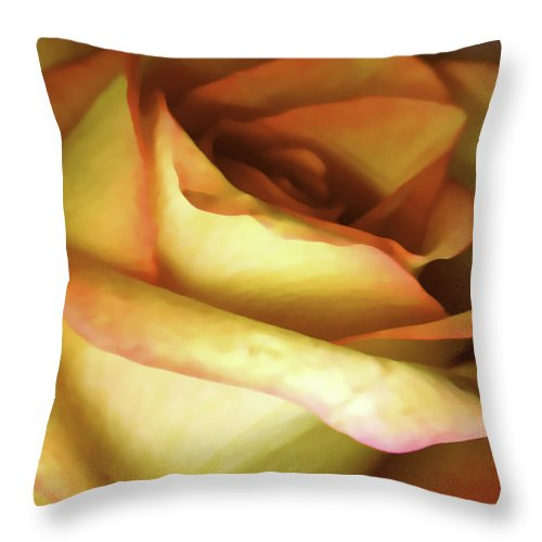 Digital Photogram Throw Pillow featuring the photograph Rose Scan Softened by Paul Shefferly