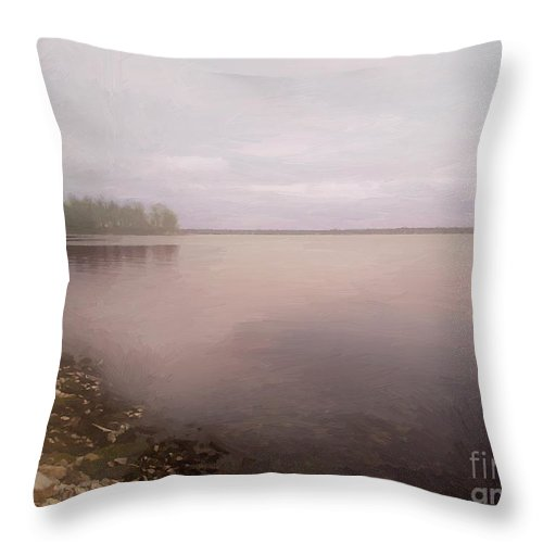 Sky Throw Pillow featuring the painting Rose The Dawn by RC DeWinter