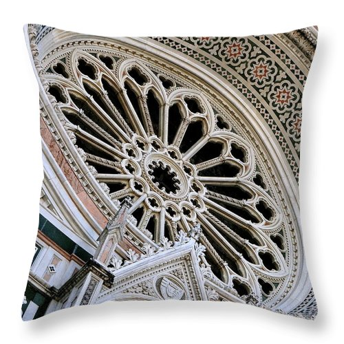 Duomo Throw Pillow featuring the photograph Rose Window Duomo Florence by Ira Shander