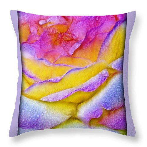 Dry Rose Throw Pillow featuring the digital art Rose With Dew Drops In Candy Colors by Lilia D