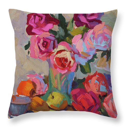 Roses And Apples Throw Pillow featuring the painting Roses And Apples by Diane McClary