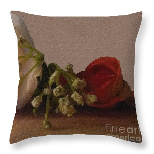 Roses Throw Pillow featuring the mixed media Roses And Baby's Breath by Pharris Art